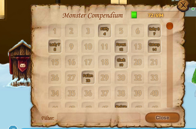 A screenshot of the monster compendium.